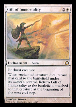 Magic the Gathering Theros Visual Spoiler Gift of Immortality Card Image Karte