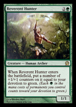 Magic the Gathering Theros Visual Spoiler Reverent Hunter Card Image Karte