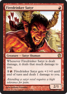 Magic the Gathering Theros Visual Spoiler Card Image Karte Firedrinker Satyr
