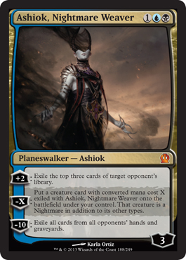 Magic the Gathering Theros Visual Spoiler Card Image Karte Planeswalker Ashiok Nightmare Weaver