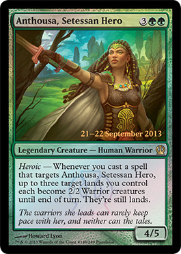 Magic the Gathering Theros PreRelease Promo Foil Card Karte Arthousa Setessan Hero