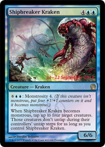 Magic the Gathering Theros PreRelease Promo Foil Card Karte Shipbreaker-Kraken