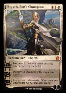 Magic the Gathering Theros Visual Spoiler Planeswalker Elspeth Sun's Champion Card Image Karte