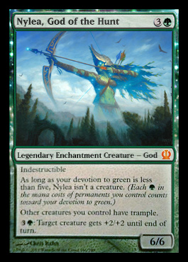 Magic the Gathering Theros Visual Spoiler Nylea God of the Hunt Card Image Karte