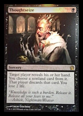 Magic the Gathering Theros Visual Spoiler Thoughtseize Card Image Karte Neues Artwork