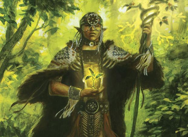 Magic the Gathering Elvish Mystic Elfen-Mystiker Alternate Artwork FNM Promo Foil 2014