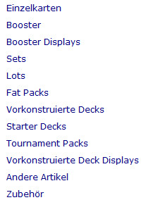 Magickartenmarkt Kategorien Produkte Produktkategorien verkaufen
