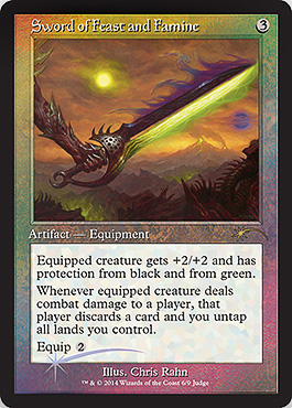 Magic the Gathering Judge Reward Promo Foil 2014 Alternate Art Old Cardframe Sword of Feast and Famine, Schwert aus Schmaus und Hunger