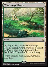 Windswept Heath Khans of Tarkir Visual Spoiler Onslaught Fetchland Reprint magiclinks.de #MTGKTK KTK Zerzauste Heide Aufmarsch
