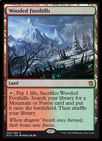 Wooded Foothills Khans of Tarkir Visual Spoiler Onslaught Fetchland Reprint magiclinks.de #MTGKTK KTK Bewaldete Gebirgsausläufer Aufmarsch