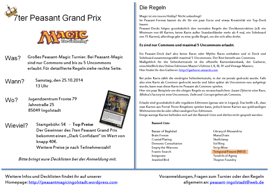 magic the gathering 7. siebter peasant grand prix ingolstadt flyer