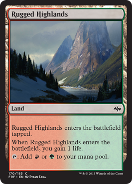 frf fate reforged spoiler dual land alternate artwork rugged highlands