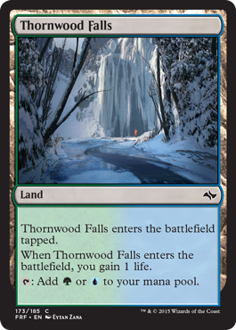 frf fate reforged spoiler dual land alternate artwork  thornwood falls