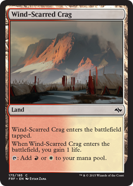 frf fate reforged spoiler dual land alternate artwork  wind-scarred crag