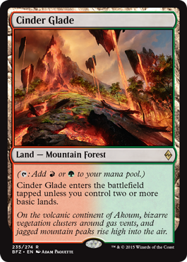 magic the gathering battle for zendikar dual land b r smoldering marsh